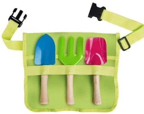 Children's gardening toolbelt with coloured tools